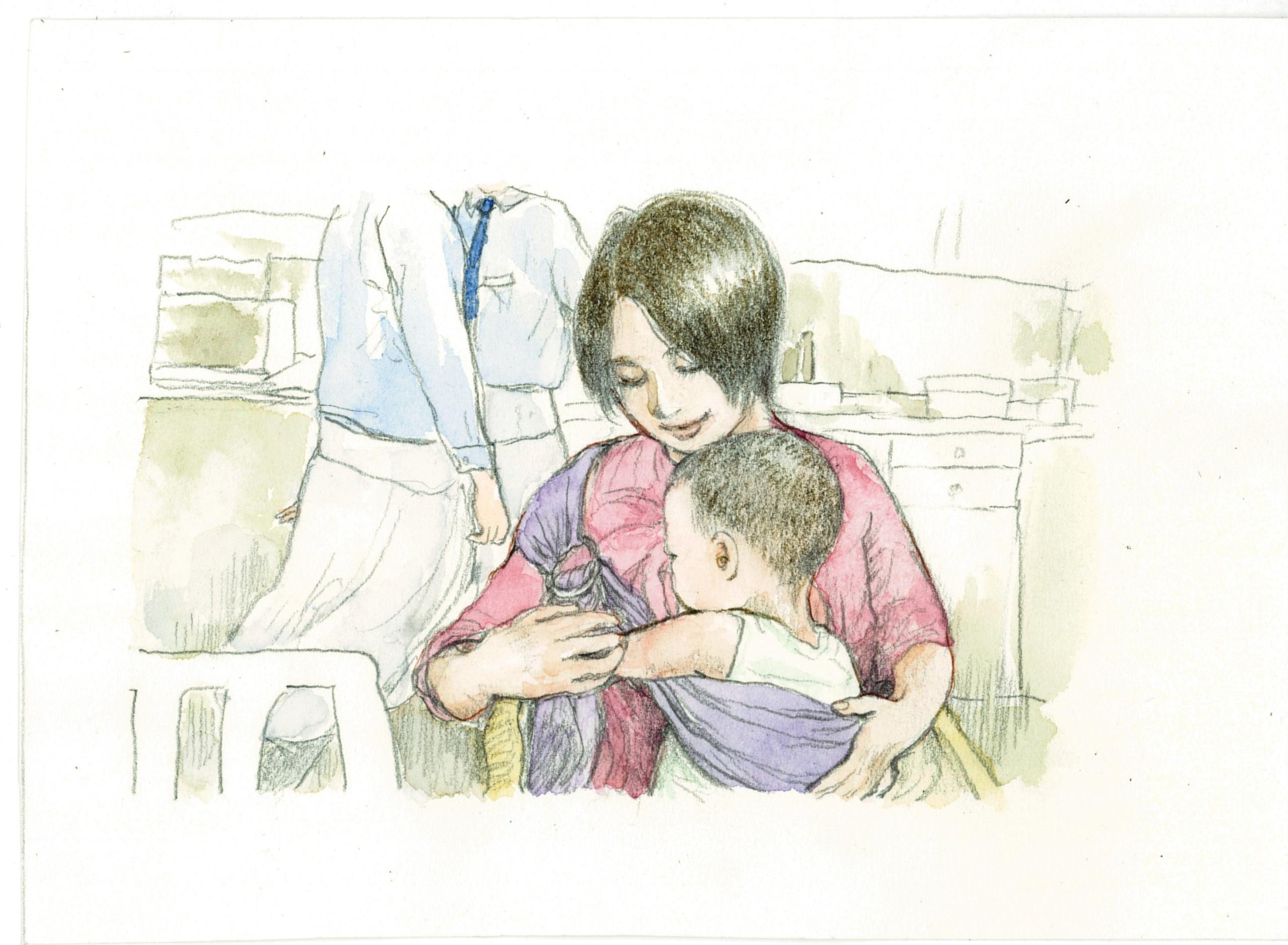 お母さんと赤ちゃんの水彩画